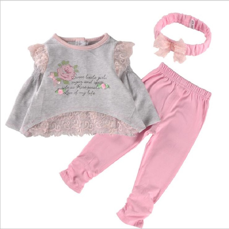 Spring New Baby Girl Clothing Sets baby outfit sets long sleeve T-shirt+Headband+Leggings 3pcs/Set Bebe First Birthday Costumes