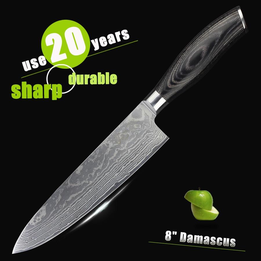 HAOYE damascus séf kés japán vg10 acél konyhai kés színes fa - Konyha, étkező és bár