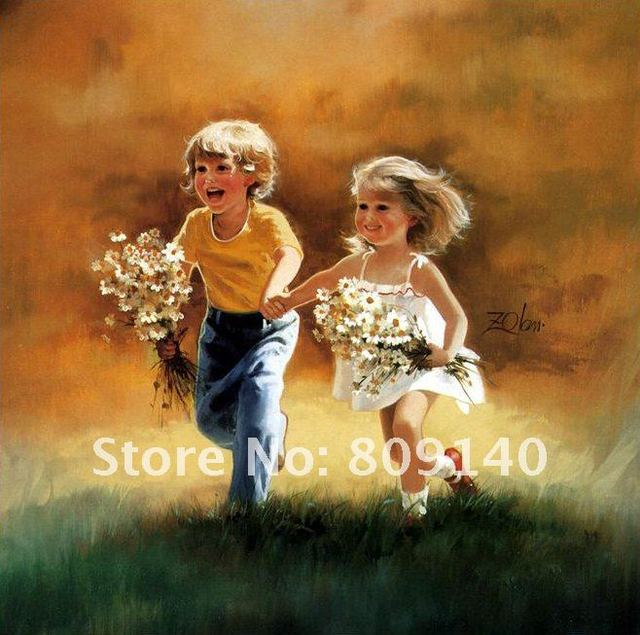 running home office. free shipping running boy girl portrait oil painting on canvas decoration high quality handmade home office a