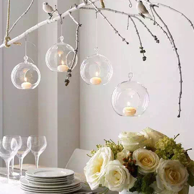 12PCS/Lot Hanging Tealight Holder Glass Globe Terrarium Candle Holders Candlestick Home Bar Wedding Decoration image