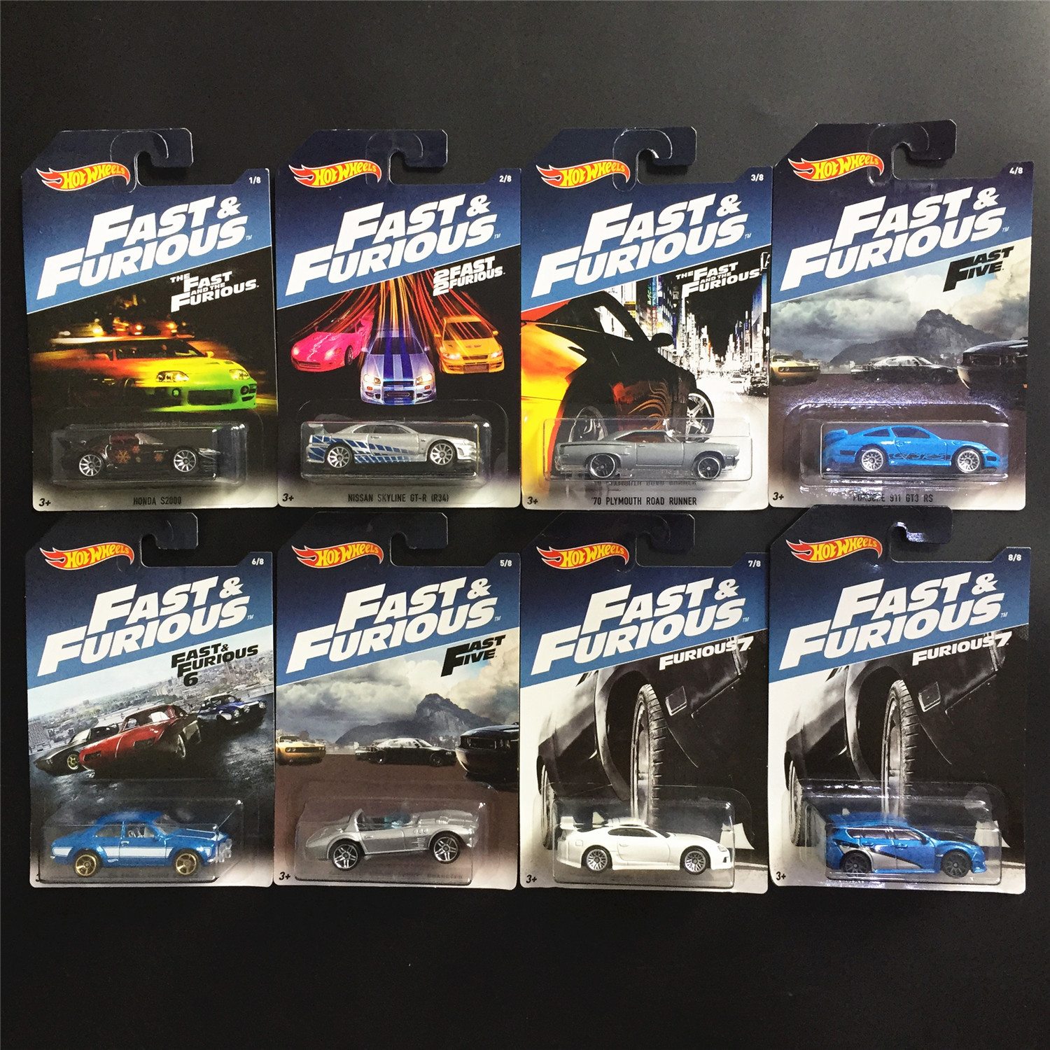 8pcs/set Hot Wheels Fast and Furious Diecast Cars Alloy Model Sport Car Hotwheels Collection Toys for Boy mercedes benz sls 1 18 maisto amg gt car model alloy diecast boy gift collection sports car fast