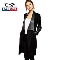 TOTRUST Long Black Coat Womens 2019 Winter Fashion PU Collar Long Sleeve Sleeve Fashion Solid Color Trench Coat Elegant Jacket