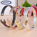 BYSPT Charms Cool Vintage Silver Gold Black Plated Machinery Wrench Bangle Cuff Love Opening Bracelet Titanium Steel Bangle