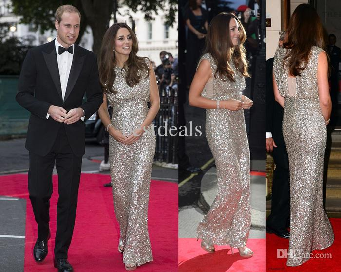 sequin evening gown Kate Middleton sequin dress scoop neck open ...