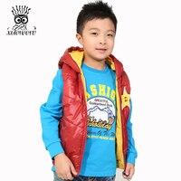 XIAOYOUYU Double Wear Design Boy Winter Vest Coats Size 100-140 cm Star Printing Children Kids Fashion Cotton Waistcoats