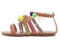 New Bohemian Women Sandal Flat Heel Sandalias Thong Flip Flops Sapatos Rhinestones Chains Thong Gladiator Flat