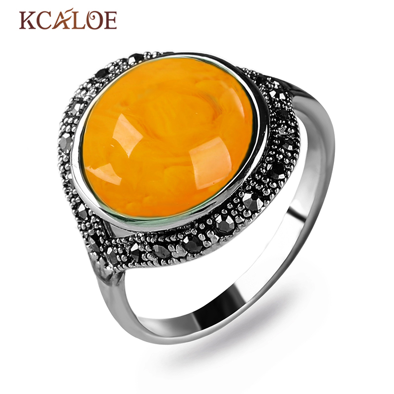 KCALOE Yellow Natural Stone Women Ring Black Cubic Zirconia Rhinestone Vintage Accessories Antique Silver Color Rings Bague