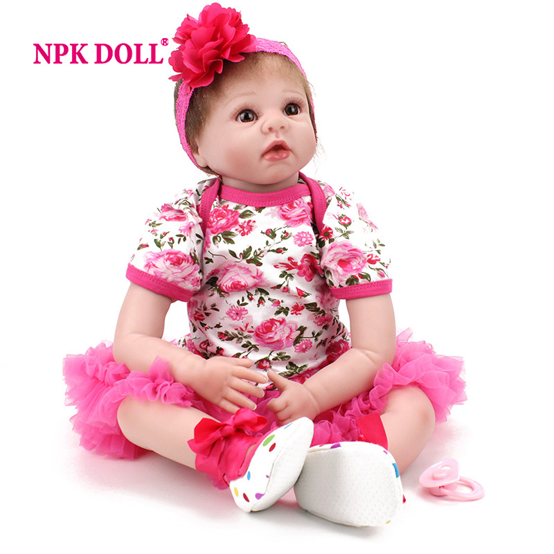 цены NPKDOLL 22 Inch Reborn Babies Realistic Doll Reborn Gift For Children Play House Toys With Pink Dress