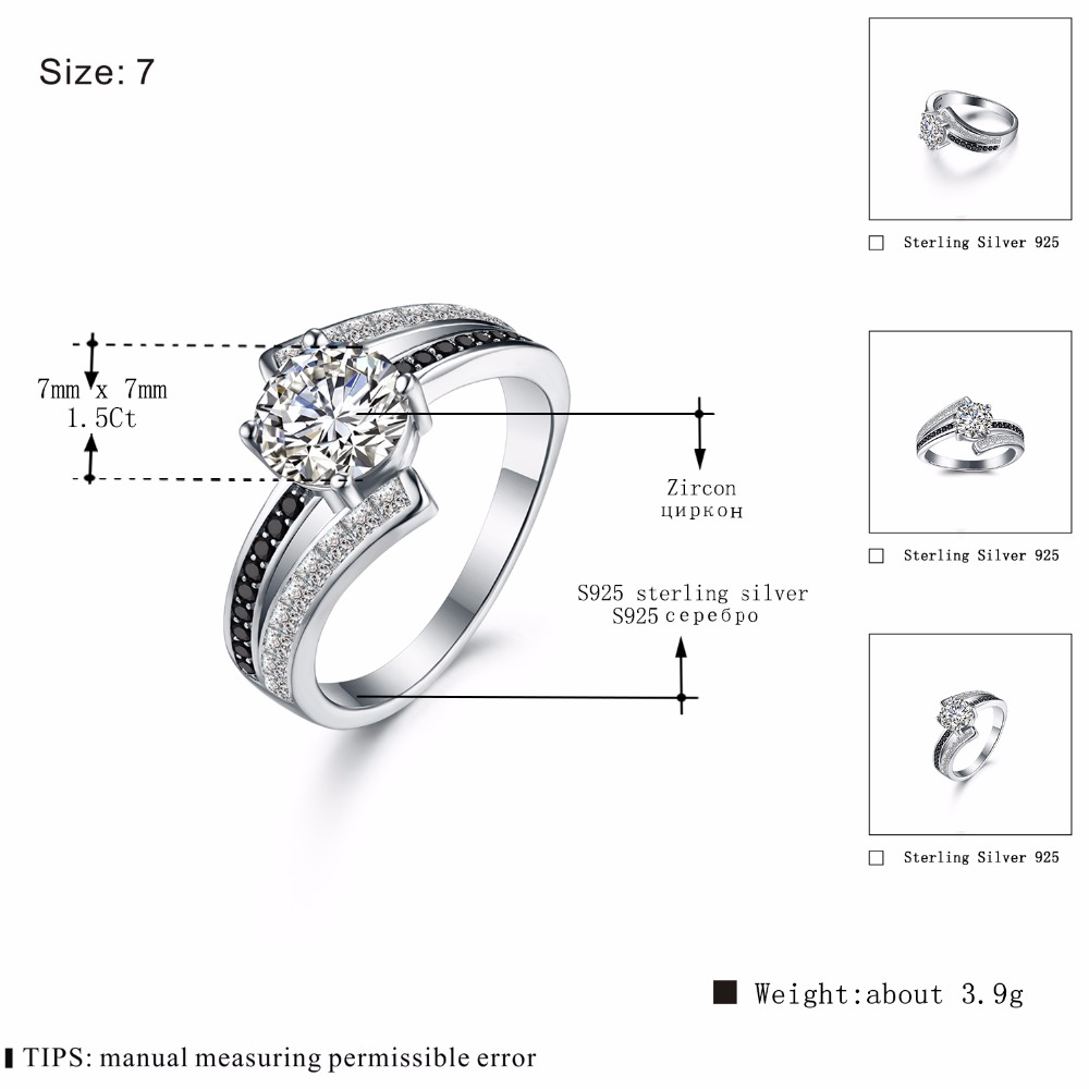 BLACK AWN Real 100 925 Sterling Silver Jewelry Black Spinel Wedding Rings for Women Femme Ring Bague Gift C334 in Rings from Jewelry Accessories