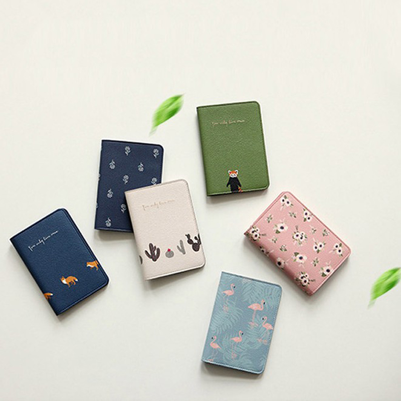 OKOKC Lovely Small Fresh Animals/Plants/Firebird Travel Passport Holder Short Passport Cover Package Passport