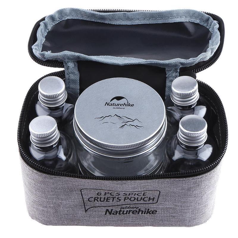 7 unids/set acampar al aire libre vajilla contenedor de almacenamiento tarro de especias condimento caja portátil botella de aceite para barbacoa Picnic al aire libre Accesorios