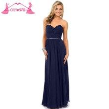 Long Navy Blue Sweetheart Chiffon Bridesmaid Dresses Formal Vestido De Festa Pleated Back Zipper Floor Length