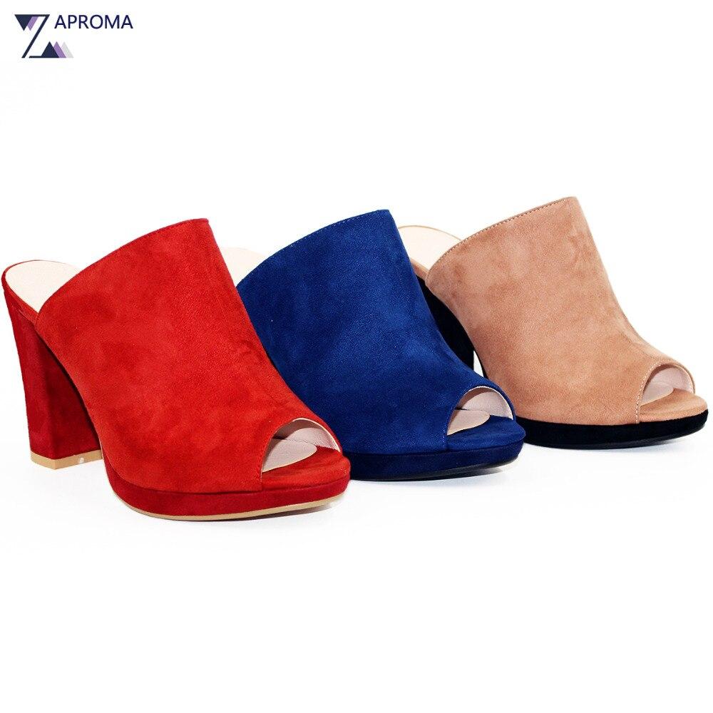 где купить Elegant Shoes Women Sandals Wedges Chunky Heel Summer Peep Toe Super High Heel Platform Consice Suede Slip On Casual 2018 Mules по лучшей цене