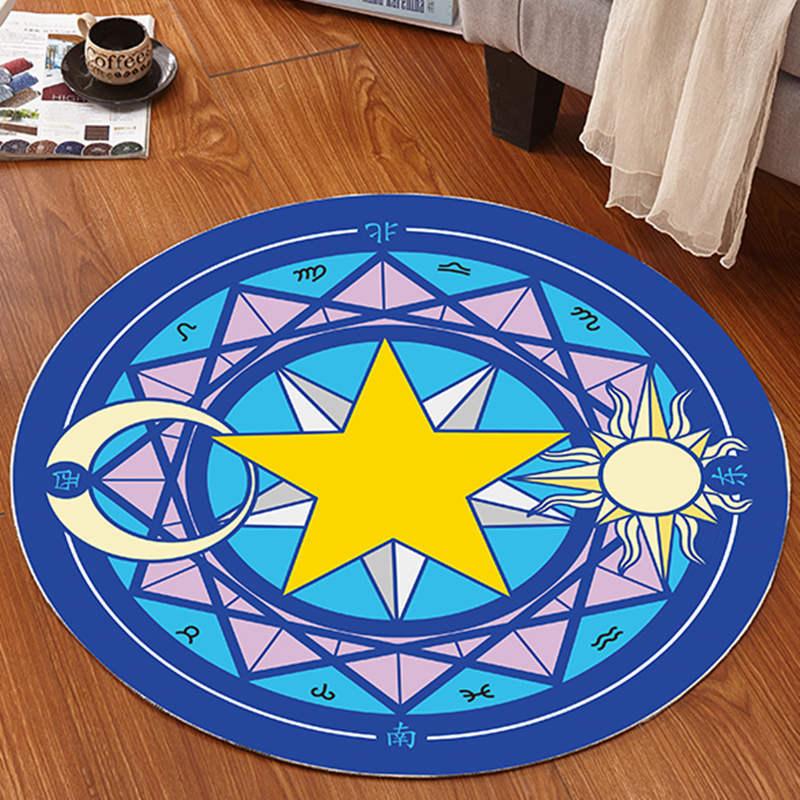 Pentacle Magic Round Carpet For Living Room Mats Children Cartoon Star Area Soft Rug Floor Bedroom Home Decor Doormats In From