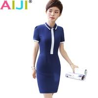 Summer OL Formal Elegant Women Short Sleeve One Piece Dress Ladies Turn Down Collar Work Wear
