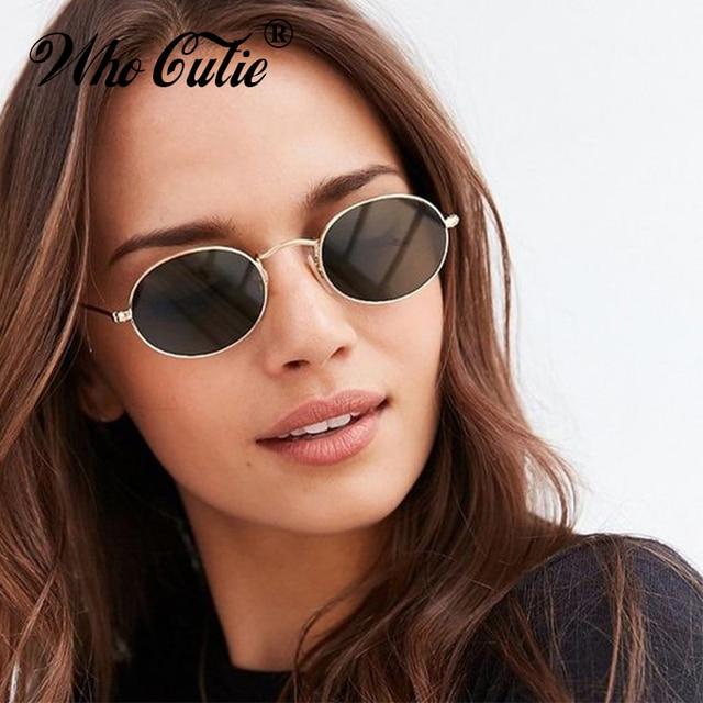 5d5fc6693699 WHO CUTIE 2018 Black Small Oval Sunglasses Men Women Vintage Retro Brand  Designer Pink Red Lens Flat Top Sun Glasses Shades 585
