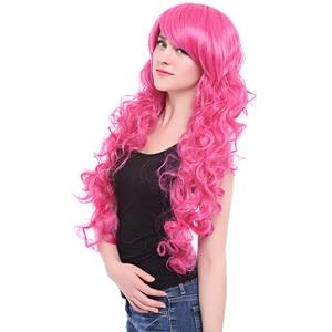 Image 4 - L e mail perücke Marke Neue 80cm Rosa Cosplay Perücken Little Pony Wärme Beständig Synthetische Haar Perucas Cosplay Perücke