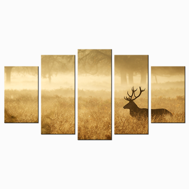 Deer In Autumn Forest Canvas Art Print Poster Animal Wildlife Wall