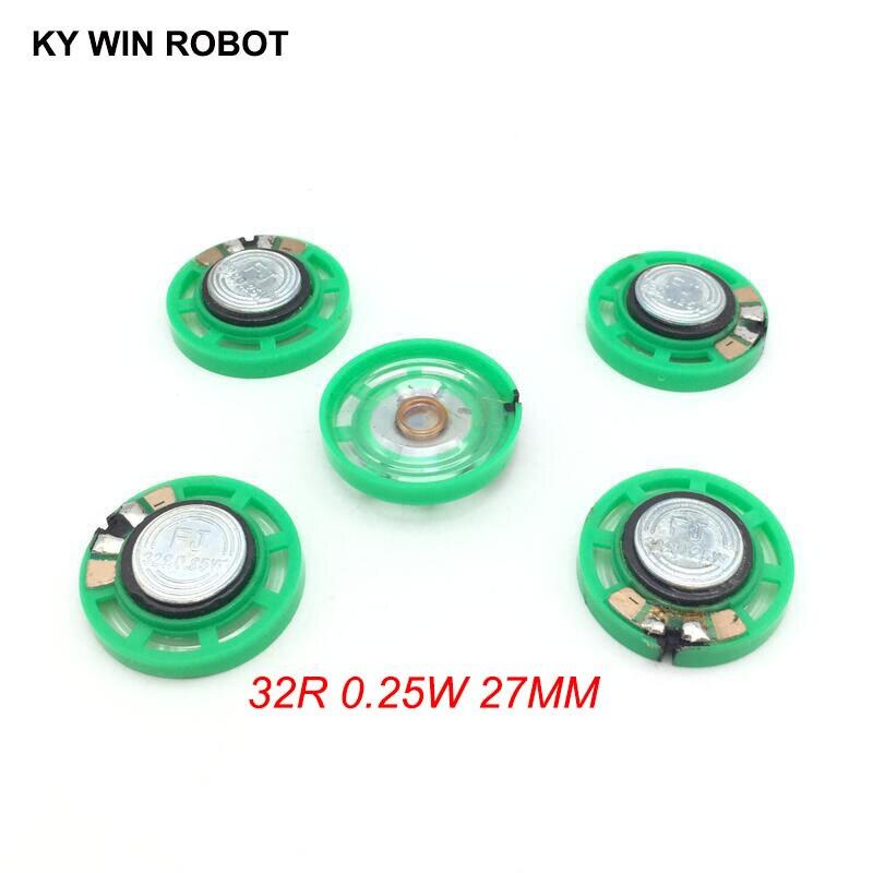 5pcs/lot New Green Ultra-thin Mini Speaker 32 Ohms 0.25 Watt 0.25W 32R Speaker Diameter 27MM 2.7CM Thickness 9MM