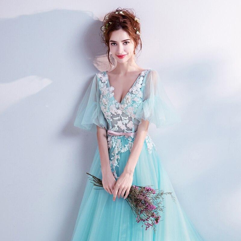 2adb6ddb507f Es YiiYa flor vestidos de noche ilusión azul v-cuello vestido Formal ...