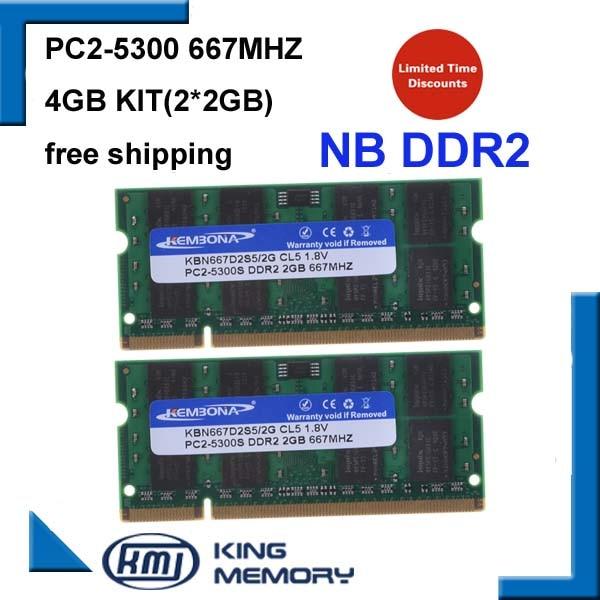 PC2-5300s DDR2-667MHz//DDR2-800 Laptop Memory SODIMM Intel 200pin US 2x2GB 4GB