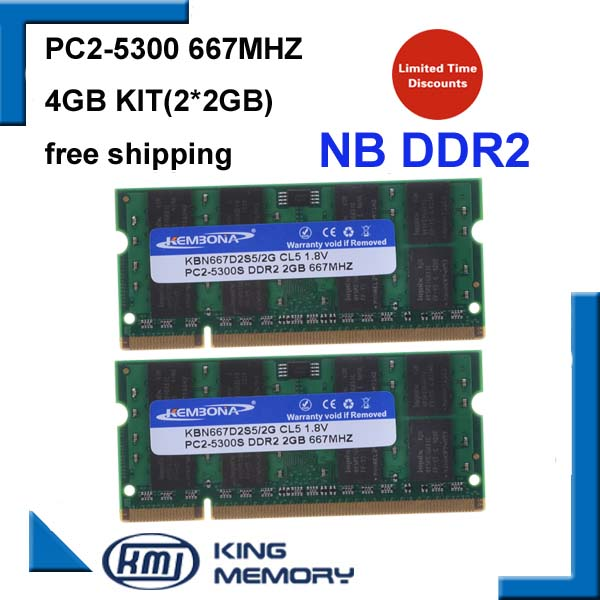 KEMBONA best sell dual channel 4GB 2x2GB PC2-5300 DDR2 667Mhz SO-DIMM 200 PIN Laptop ddr2 Notebook RAM Memory Free Shipping