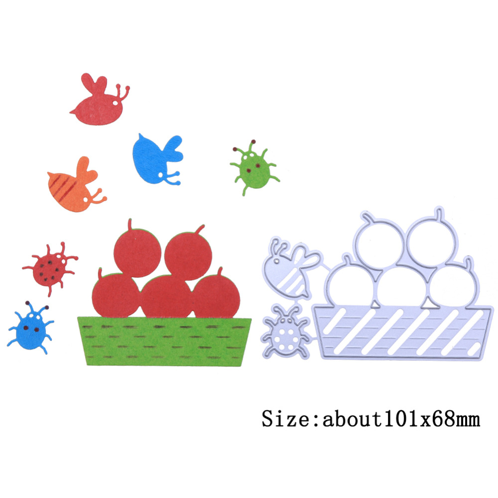 Orchard Insect Bee Ladybug Fruit Metal Cutting Dies Stencil for DIY Scrapbooking Photo Album Embossing Card Crafts Dies New 2018