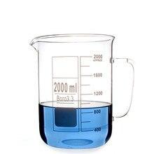 2000 ミリリットルガラスビーカーハンドル 3.3 ホウケイ酸ガラスラボガラス製品ローフォルムとクリアと厚い他比較するために歓迎販売」