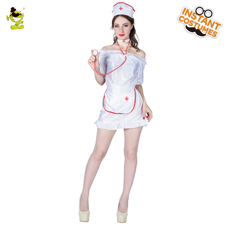 cd8bdac1f Nova marca Adulto Branco Enfermeira Sexy Trajes de Festa de Carnaval Fantasia  Enfermeira Vestido Cosplay Menina Mulheres Hot Hospital Beleza Role Play em  de ...
