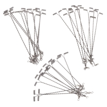 10Pcs Fishing Wire Arm With Swivel T Shaped Stainless Steel 9/12/15cm Rig Tackle