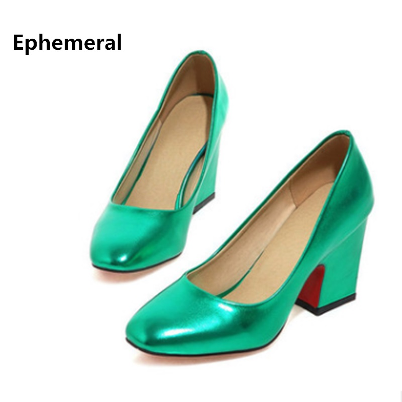 Lady Elegant Plain big size 3 12 High quality PU Square toe thick heels women Office shoes Pumps Mujer Gold Silver Green Slip on