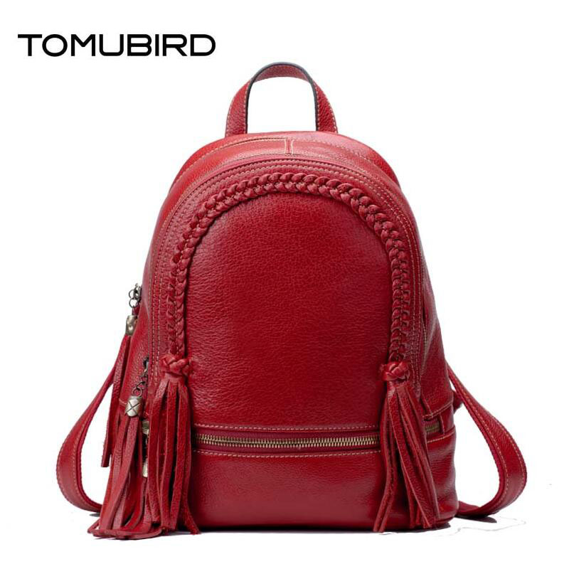 TOMUBIRD superior leather designer bags famous brand women bags 2017 new fashion Weaving tassels women genuine leather bagkpack
