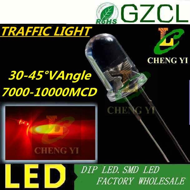 Ultra bright 7000 10000MCD 5mm RED led diode Round traffic light led 30 45 degree Epistar