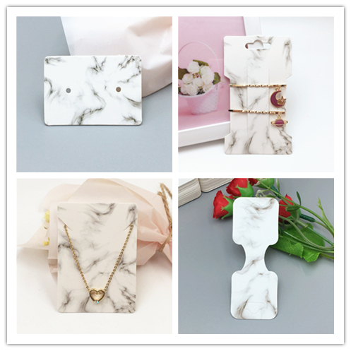 50Pcs/Lot Marble Pattern Jewelry Sets Holder Card Handmade For Necklace Earring Hairpin Accessory Jewelry Decoration Cards Favor