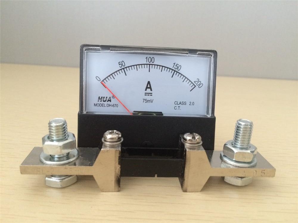 DH-670 30A 50A 100A 200A 500A DC с шунтом аналоговая Amp Панель измеритель тока Амперметр