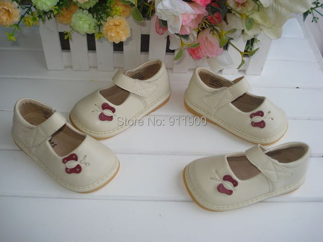 Beige Breathable Pigskin Lining Squeaky Shoes Light weight Soft Sole Baby Shoes