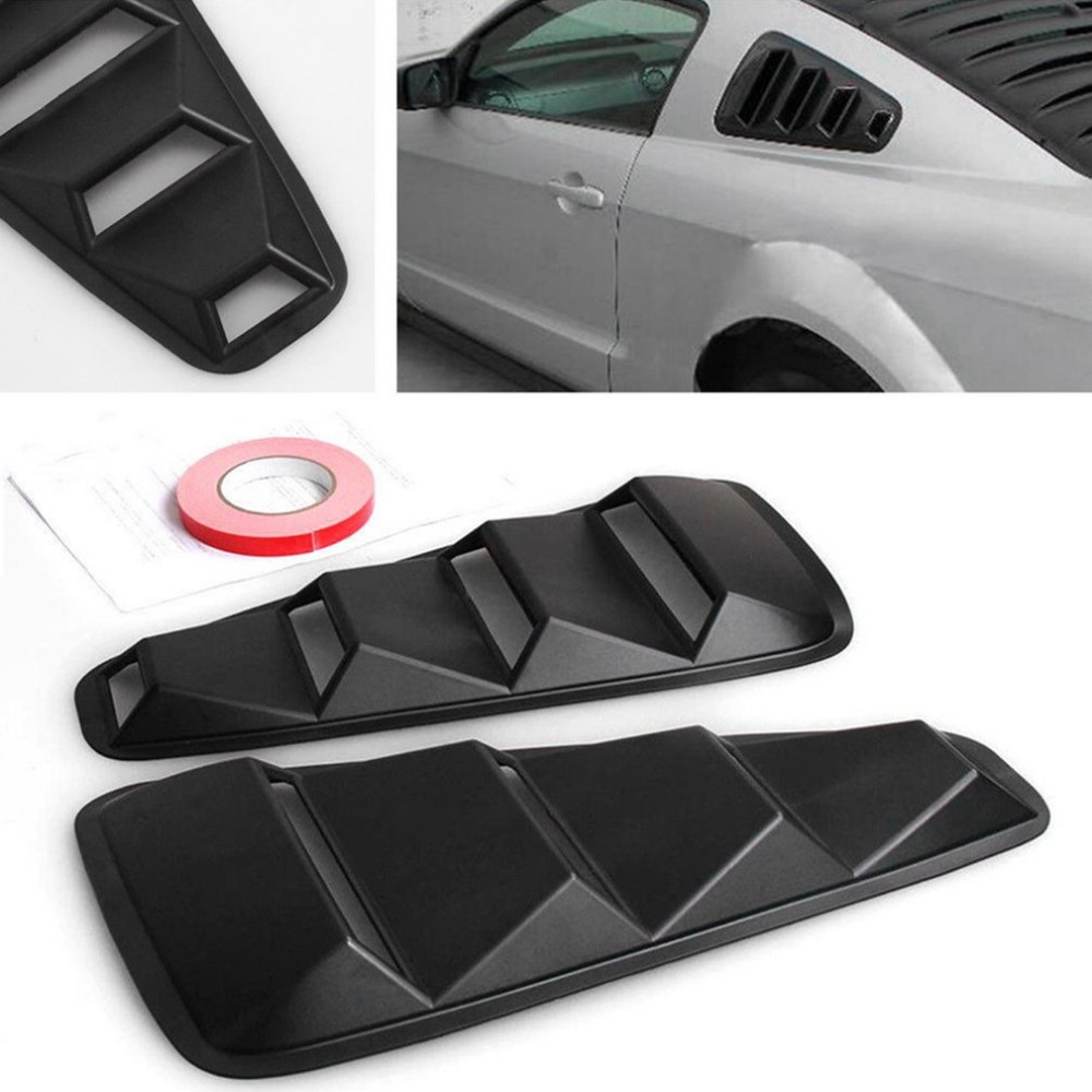2005 2014 For Ford Mustang Coupe Models 1/4 Quarter Side Window Modification Louvers ABS Scoop Cover Vent Decoration Black