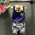Menoea 2017 Fashion Style Blue Boy Clothing Sets Kids Clothing Sets 3-7 Y Gentleman Shirt+Print Pants+Belt 3Pcs for Boy Clothes