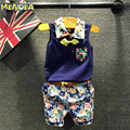Menoea 2017 estilo de la moda azul ropa boy sets ropa niños establece 3-7 y caballero de la camisa + pantalones de impresión + cinturón 3 unids para la ropa del muchacho