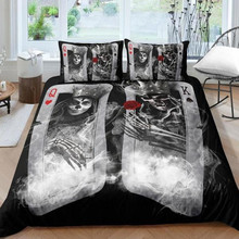 Fanaijia пара сахар постельное белье с изображением черепа наборы королева размер 3D покер череп пододеяльник набор постельного белья AU us размер постельное белье