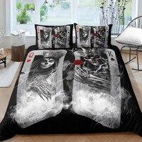Fanaijia Couple sugar Skull Bedding Sets queen size 3D poker skull Duvet Cover set Bed bedline AU US size bedline