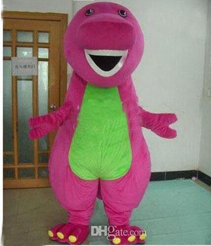Drop Shipping  New Profession Barney Dinosaur Mascot Costumes Halloween Cartoon Adult Size Fancy Dressolome