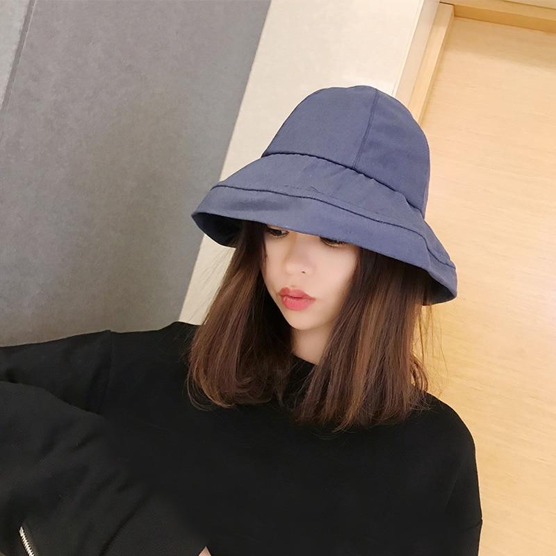 54ad89de HT1589 Korea Cotton Panama Bucket Hat Women Casual Solid Plain Fishing  Fisherman Cap Hat Packable Wide Brim Beach Summer Sun Hat-in Bucket Hats  from Apparel ...