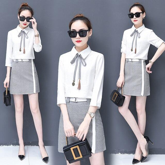 b92e9dbdaf8f New shirt bow grid print skirt spring Korean fashion plaid skirts suit two-piece  clothing set women outfit girl vestido S-XXL