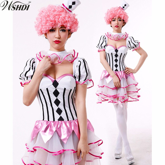 45606bd5197af US $12.72 20% OFF Aliexpress.com : Buy Women Adult Clown Circus Fancy Dress  Funny Harley Quinn Costume Cosplay Carnival Halloween Costumes from ...