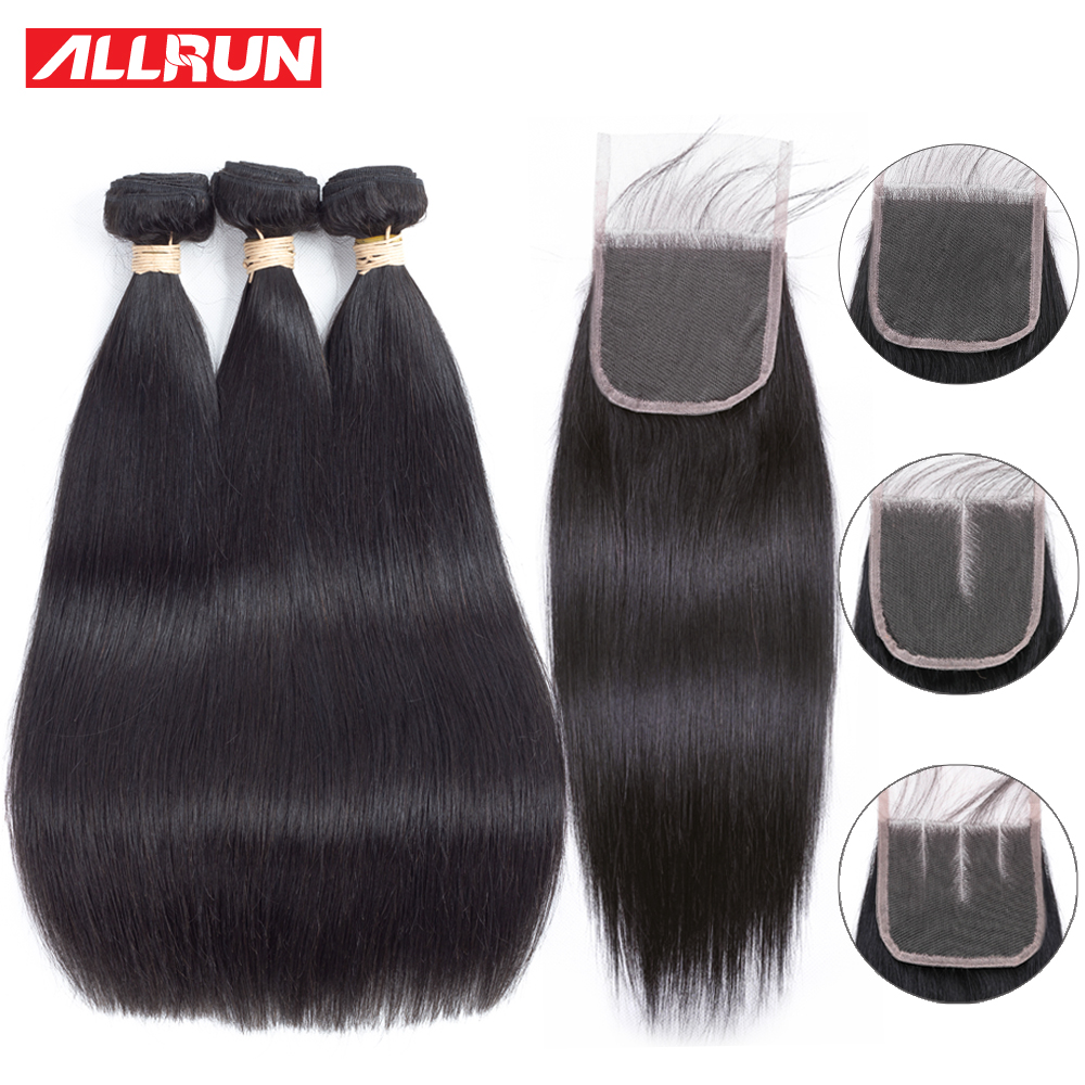 Allrun Straight Hair Bundles Med Lace Closure Hair Extension 2/3 Bundles Deal Brasilian Human Hair Weave Bundles With Closure