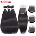 Allrun Straight Hair Bundles With Lace Closure Hair Extension 2/3 Bundles Deal Brazilian Human Hair Weave Bundles With Closure