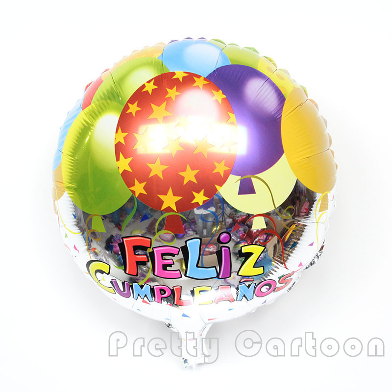 10pcs/lot 18inch foil balloons Spanish happy birthday balloon happy birthday par