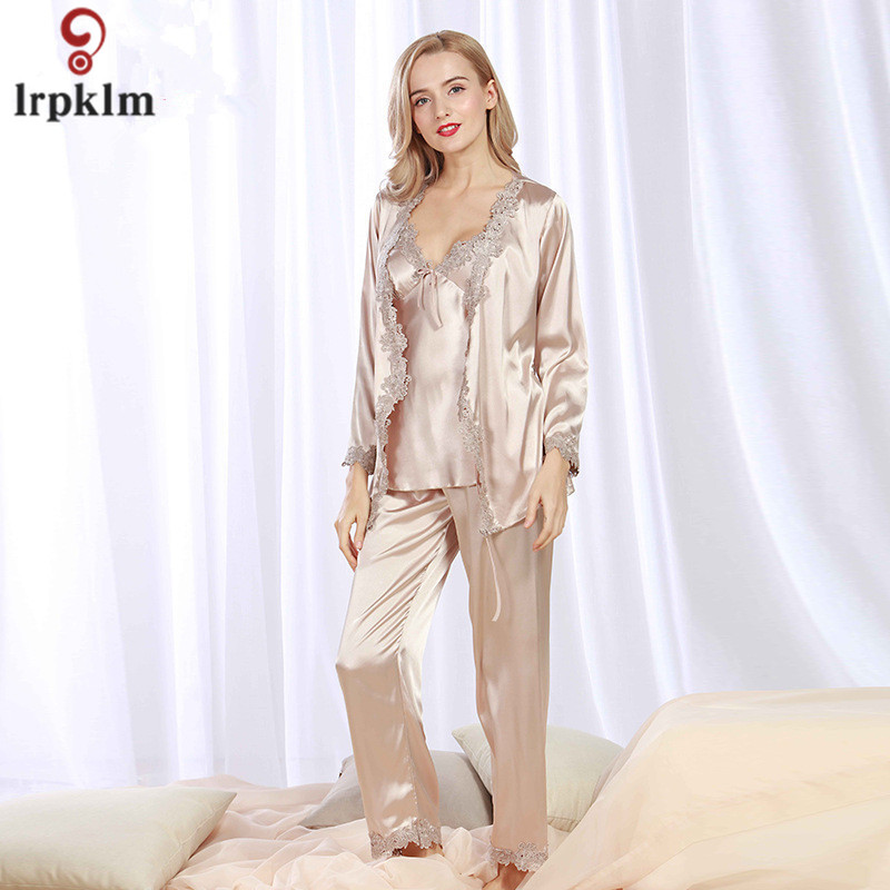 Lady Silk Satin Pajama Women Sexy 3 Pieces Pajama Set Sleepwear V neck Top  Wrist Sleeves Full Length Pant Nightgown Autumn SY07-in Pajama Sets from ... 7758bf44d