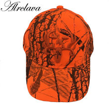 Hunting Orange Realtree Camouflage Cap With Deer Adjustable Baseball Hat Tactical Outdoor Camo Cap For Men and Women(China)